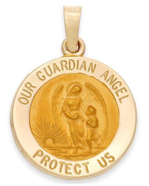 Macy's - Metallic Guardian Angel Pendant In 14k Gold - Lyst