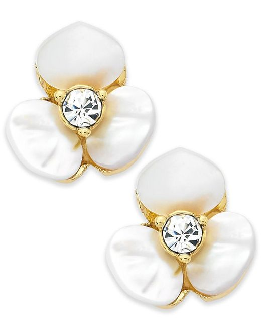 kate spade new york   White Earrings, Gold-tone Cream Disco Pansy Flower Stud Earrings   Lyst