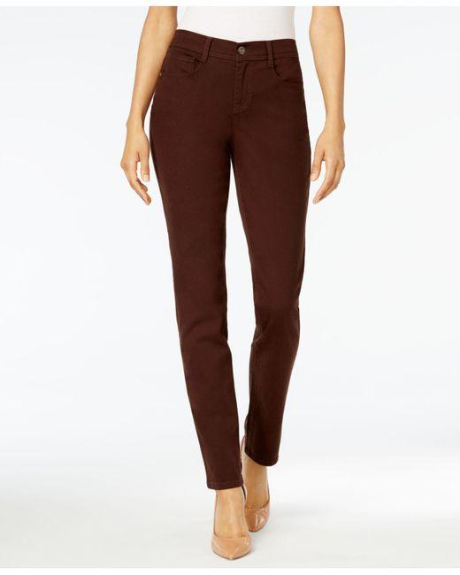 Style & Co. - Brown Tummy-control Slim-leg Jeans - Lyst