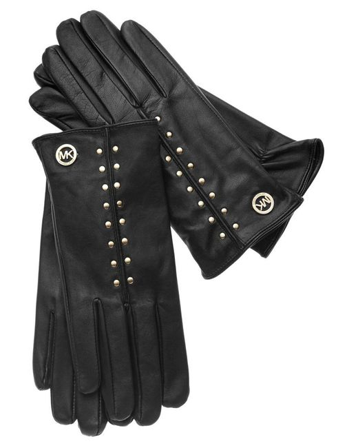 Michael Kors | Black Studded Leather Gloves | Lyst