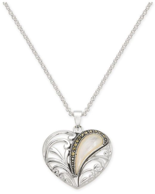 """Macy's - Metallic Marcasite & Mother-of-pearl Openwork Heart 18"""" Pendant Necklace In Fine Silver-plate - Lyst"""