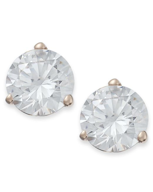Arabella | Metallic 14k Rose Gold Earrings, Swarovski Zirconia Stud Earrings (7mm) | Lyst