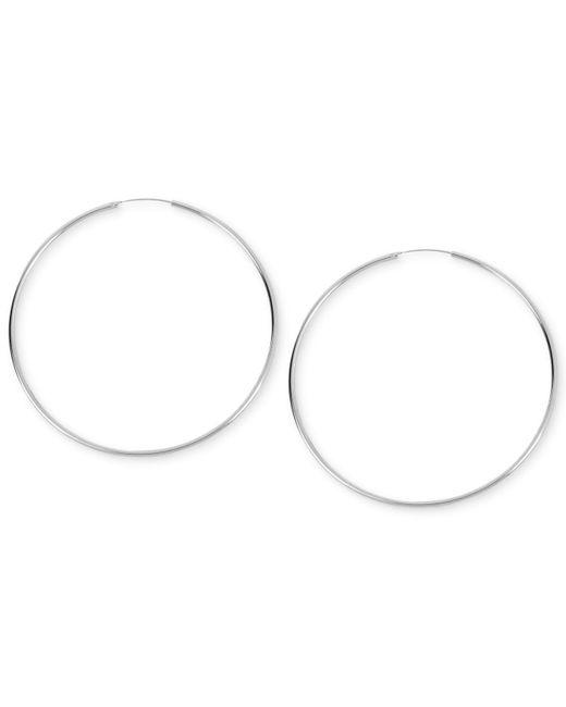 Kenneth Cole   Metallic Earrings, Silver-tone Shiny Large Hoop Earrings   Lyst