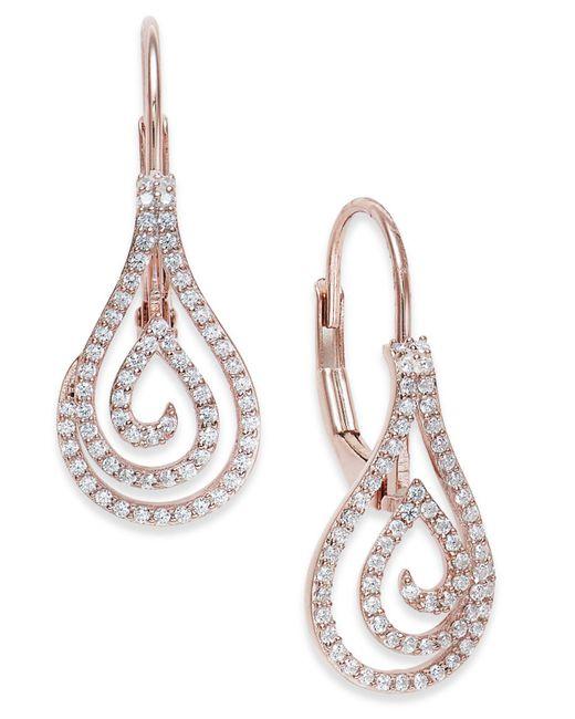 Macy's - Metallic Diamond Spiral Teardrop Drop Earrings (1/4 Ct. T.w.) In 10k Rose Gold - Lyst