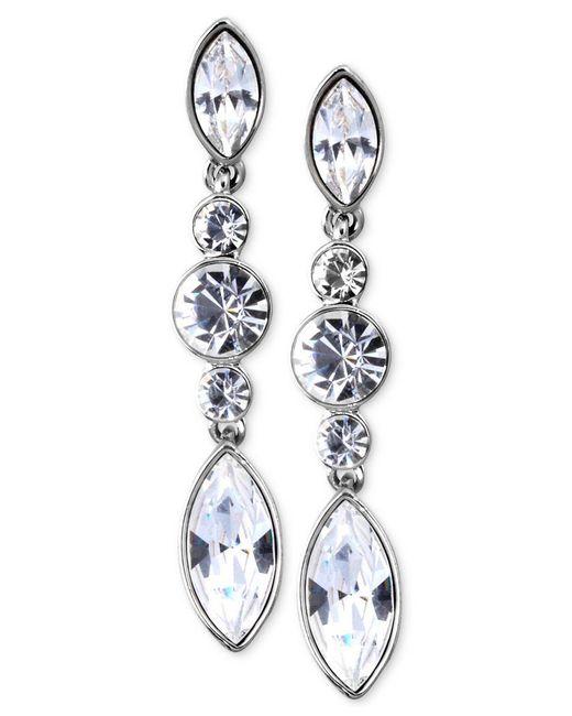 Givenchy | Metallic Silver-tone Swarovski Element Linear Drop Earrings | Lyst