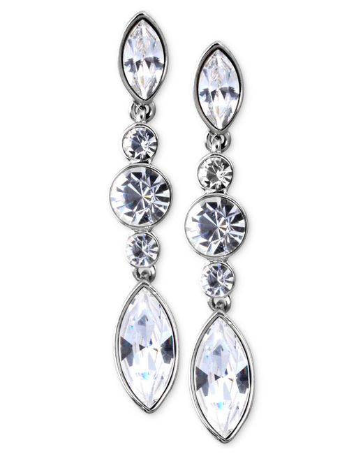 Givenchy | Metallic Silver-tone Swarovski Element Linear Drop Earrings | Lyst