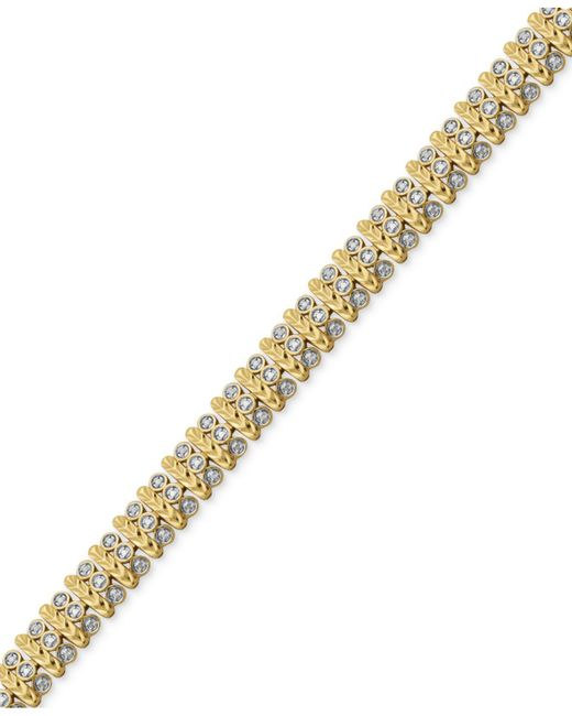 Macy's - Metallic Diamond Accent Bar Link Bracelet In Silver-plate And Gold Flash - Lyst