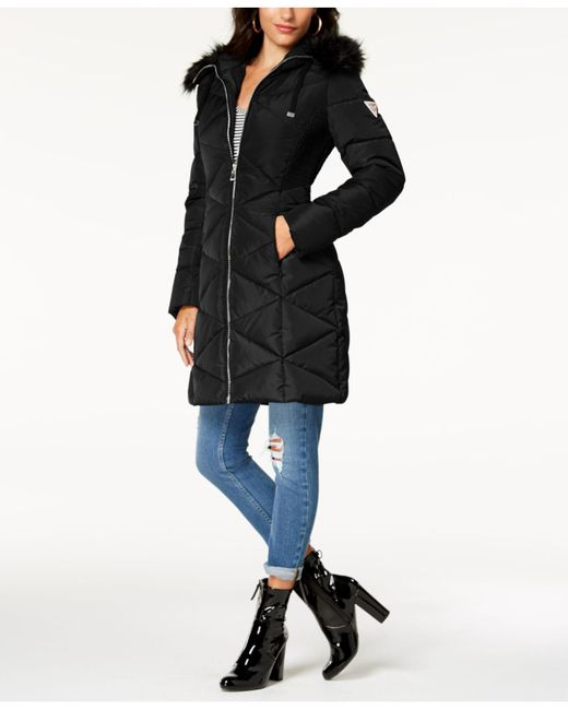 Lyst Guess Faux Fur Trim Diamond Quilted Puffer Coat In