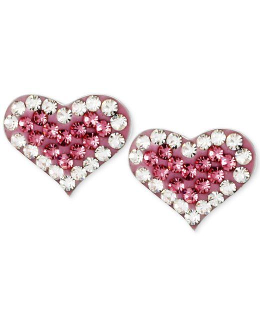 Betsey Johnson | Metallic Silver-tone Heart Pink Crystal Stud Earrings | Lyst