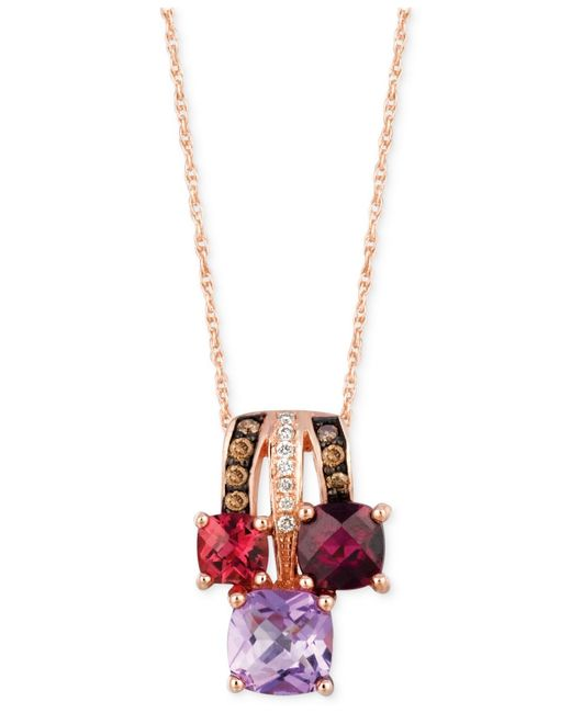 Le Vian | Multicolor Multi-stone (1-5/8 Ct. Tw.) And Diamond Accent Pendant Necklace In 14k Rose Gold | Lyst