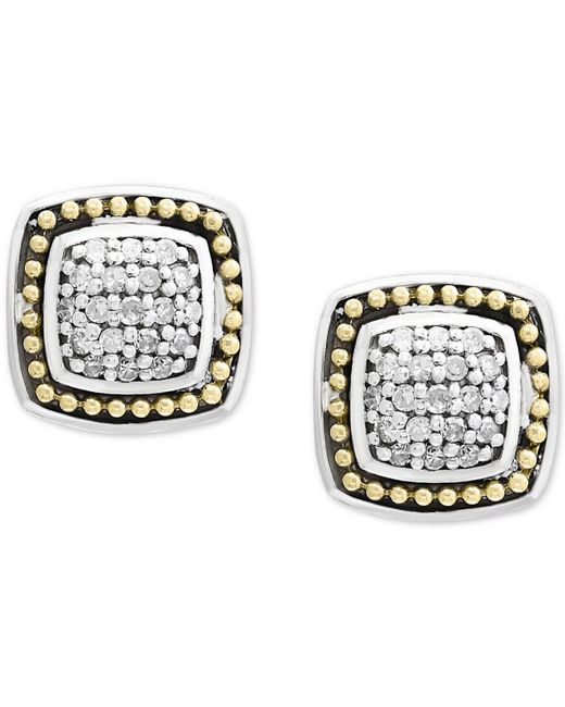 Effy Collection - Metallic Balissima By Effy® Diamond Cluster Stud Earrings (1/6 Ct. T.w.) In Sterling Silver & 18k Gold - Lyst