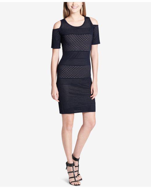 Calvin Klein - Blue Pointelle Cold-shoulder Dress - Lyst