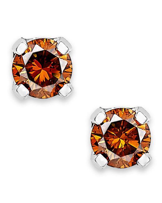 Macy's | Brown 10k White Gold Red Diamond Stud Earrings (1/10 Ct. T.w.) | Lyst