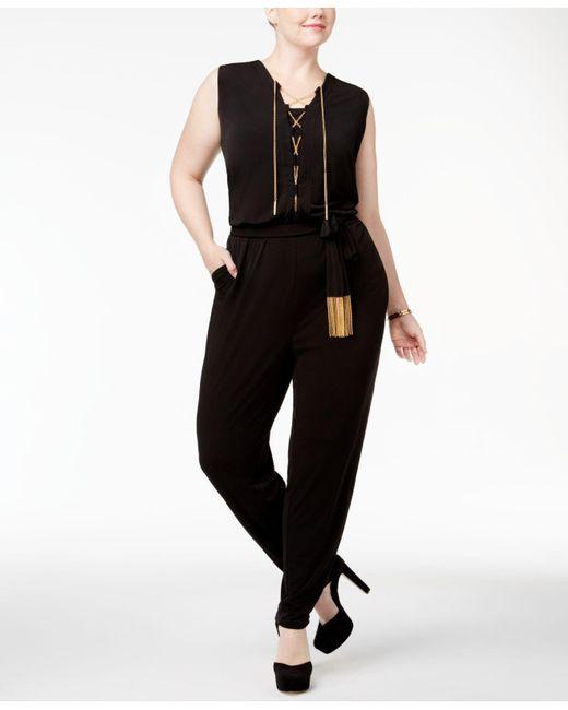 Michael Kors | Black Plus Size Chain-link Lace-up Jumpsuit | Lyst