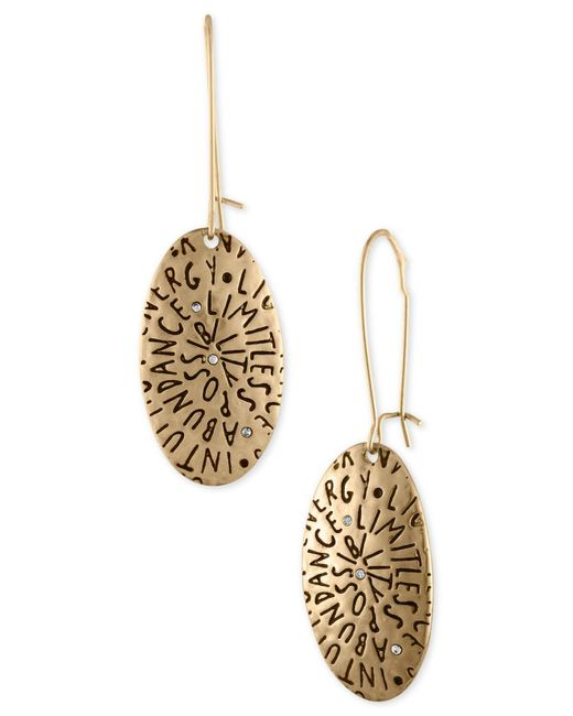 RACHEL Rachel Roy - Metallic Gold-tone Etched Inspiration Drop Earrings - Lyst