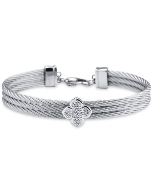 Charriol - Metallic Le Fleur Silver Bangle With White Topaz And Stainless Steel Cable - Lyst
