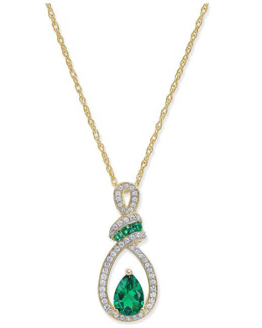 Macy's - Green Emerald (3/4 Ct. T.w.) And Diamond (1/5 Ct. T.w.) Pendant Necklace In 14k Gold - Lyst
