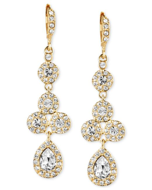 Givenchy | Metallic 10k Gold-plated Crystal Linear Drop Earrings | Lyst