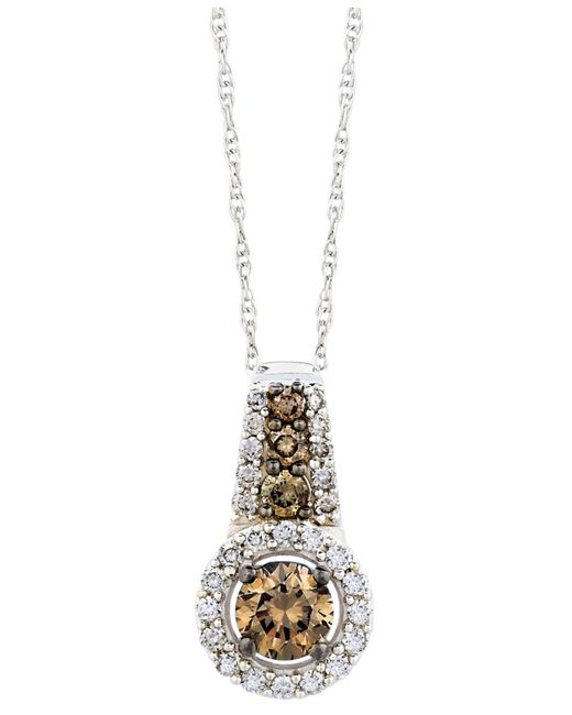 Le Vian | Brown Chocolate And White Diamond Pendant Necklace In 14k White Gold (1/2 Ct. T.w.) | Lyst