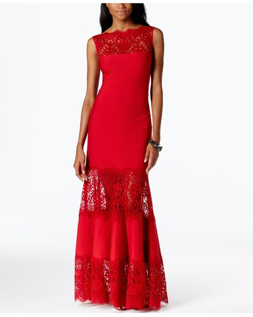 Tadashi Shoji | Red Lace-inset Evening Gown | Lyst