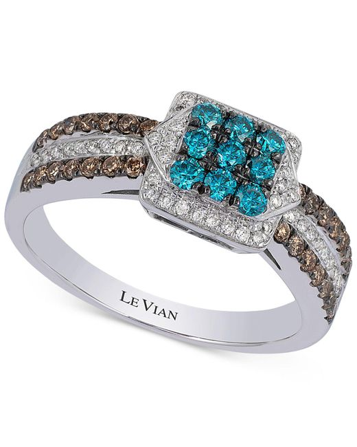 Le Vian | Metallic Blue, Chocolate And White Diamond Ring (5/8 Ct. T.w.) In 14k White Gold | Lyst