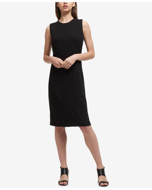 DKNY - Black Seamed Sheath Dress - Lyst