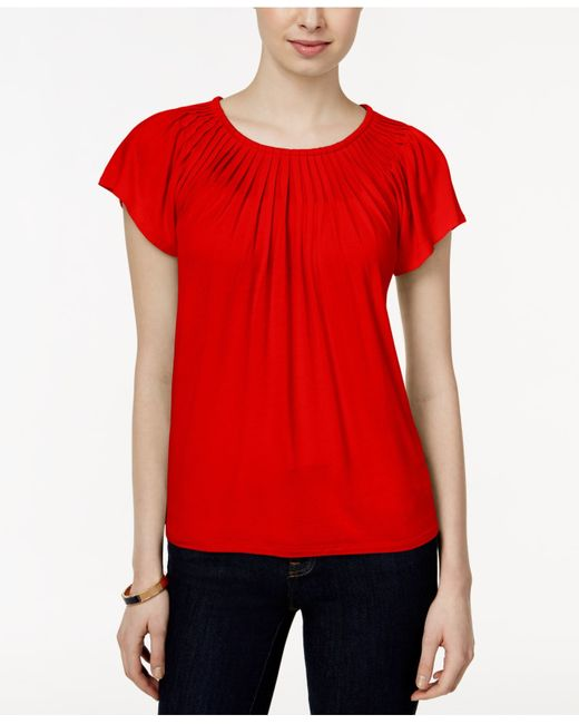 Style & Co. | Red Petite Solid Pleated-neck Top | Lyst