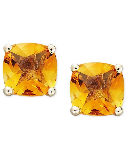 Macy's - Metallic 14k Gold Earrings, Cushion Cut Citrine Stud Earrings (1-3/4 Ct. T.w.) - Lyst
