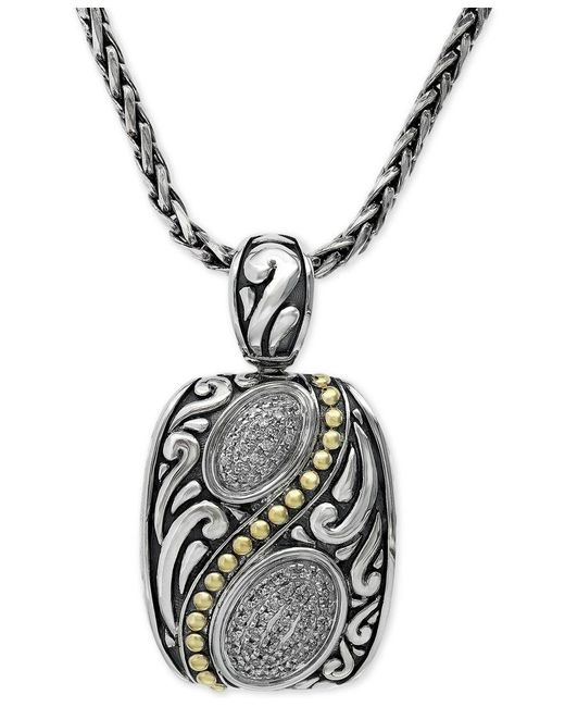 Effy Collection | Metallic Diamond Pendant Necklace In 18k Gold And Sterling Silver (1/5 Ct. T.w.) | Lyst