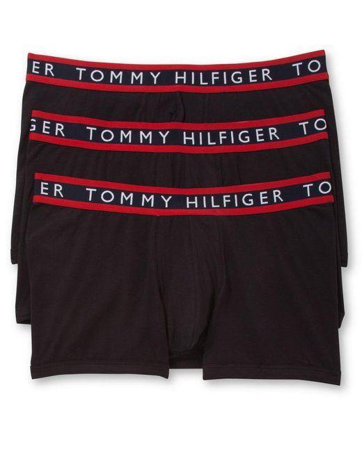 Tommy Hilfiger | Black Men's 3 Pack Cotton Stretch Trunks for Men | Lyst