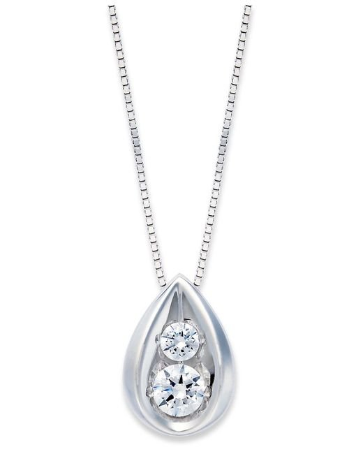 Macy's | Diamond Teardrop Pendant Necklace In 14k Yellow Or White Gold (1/4 Ct. T.w.) | Lyst