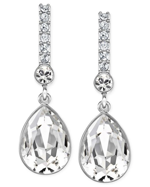 Swarovski | Metallic Silver-tone Crystal Drop Earrings | Lyst