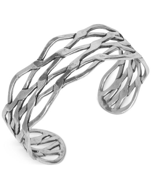 Lucky Brand | Metallic Silver-tone Twisted Cuff Bracelet | Lyst