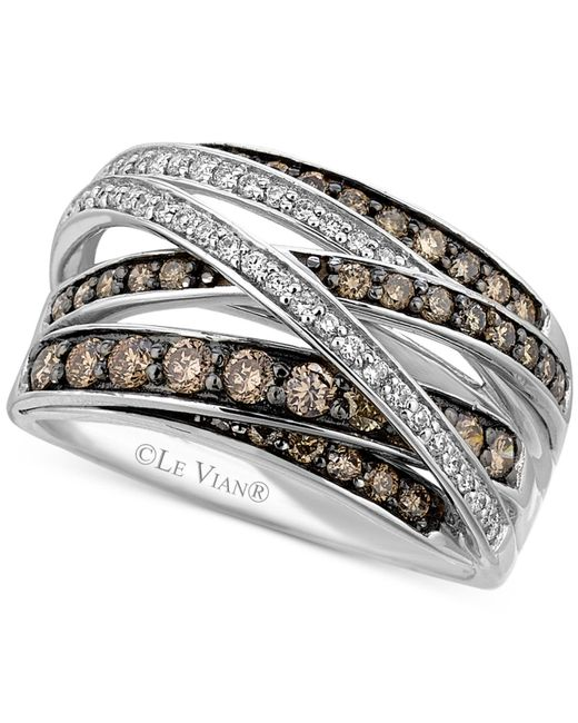 Le Vian | White (1/6 Ct. T.w.) And Chocolate (3/4 Ct. T.w.) Diamond Crossover Ring In 14k White Gold | Lyst