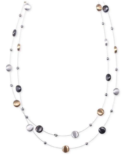 Nine West   Metallic Tri-tone Layer Necklace   Lyst