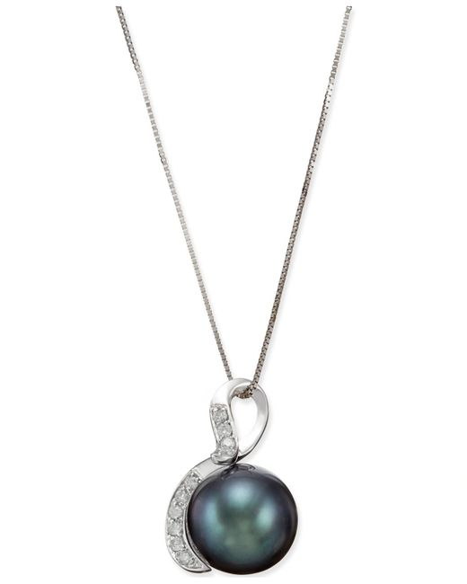 Macy's | Tahitian Black Pearl (10mm) And Diamond (1/10 Ct. T.w.) Pendant Necklace In 14k White Gold | Lyst