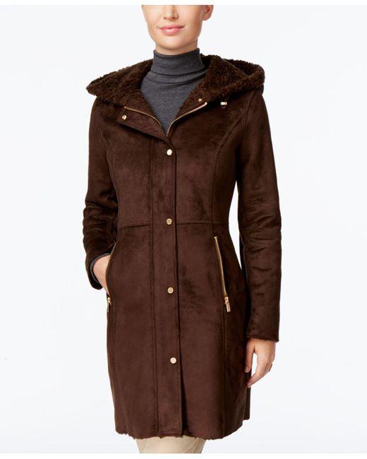 Jones New York | Brown Hooded Faux-shearling Walker Coat | Lyst