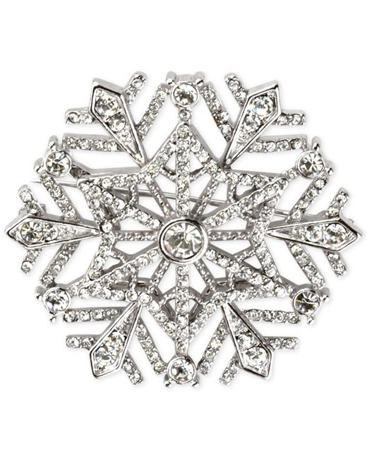 Charter Club   Metallic Silver-tone Crystal Snowflake Brooch   Lyst