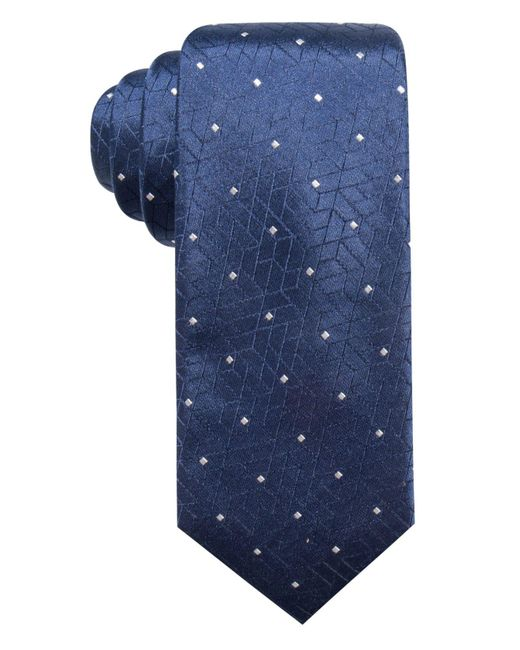 Alfani - Blue Abstract Geometric & Dot Slim Silk Tie, Created For Macy's for Men - Lyst