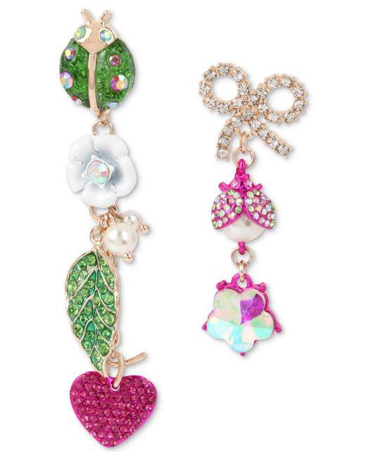 Betsey Johnson - Pink Multi-tone Crystal & Imitation Pearl Garden Mismatch Earrings - Lyst