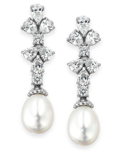 Arabella   Metallic Cultured Freshwater Pearl (8mm) And Swarovski Zirconia (1-3/4 Ct. T.w.) Earrings In Sterling Silver   Lyst