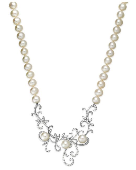 Arabella | White Cultured Freshwater Pearl (7 Mm) And Swarovski Zirconia (1-3/8 Ct. T.w.) Swirl Pendant Necklace In Sterling Silver | Lyst