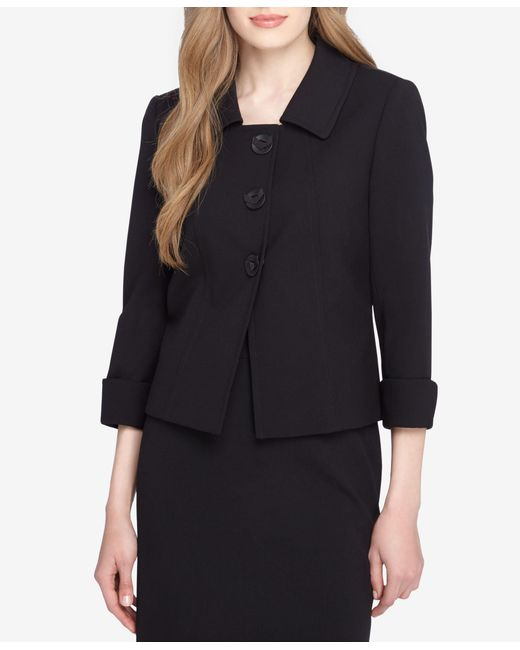 Tahari | Black Three-button Three-quarter-sleeve Jacket | Lyst
