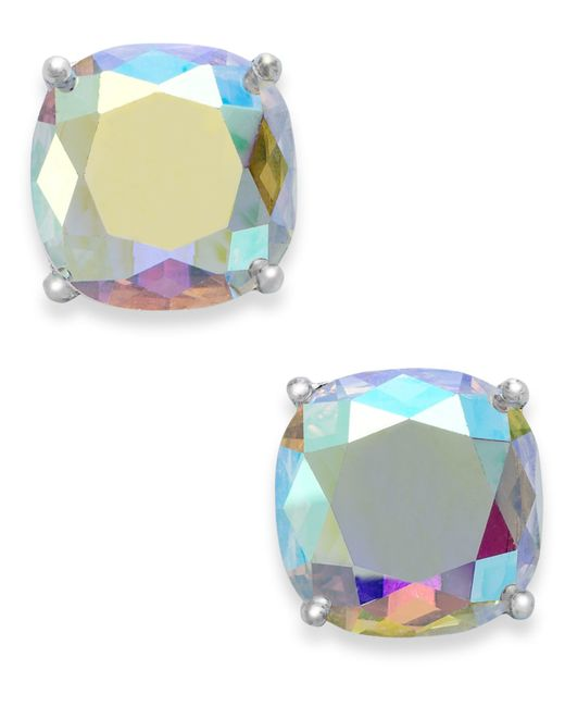 Kate Spade | Metallic Silver-tone Faceted Abalone Square Stud Earrings | Lyst