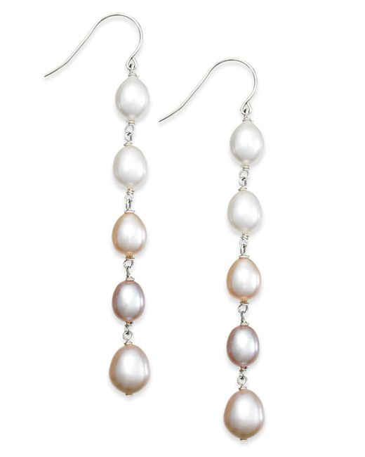 Macy's | Metallic Multi-colored Cultured Freshwater Pearl Linear Earrings In Sterling Silver (7mm) | Lyst