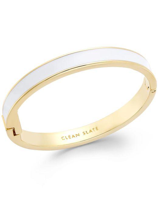 kate spade new york   Metallic Gold-tone White Clean Slate Idiom Bangle Bracelet   Lyst