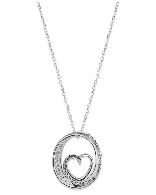 Macy's | Metallic Inspirational Cubic Zirconia Oval Heart Pendant Necklace In Sterling Silver | Lyst