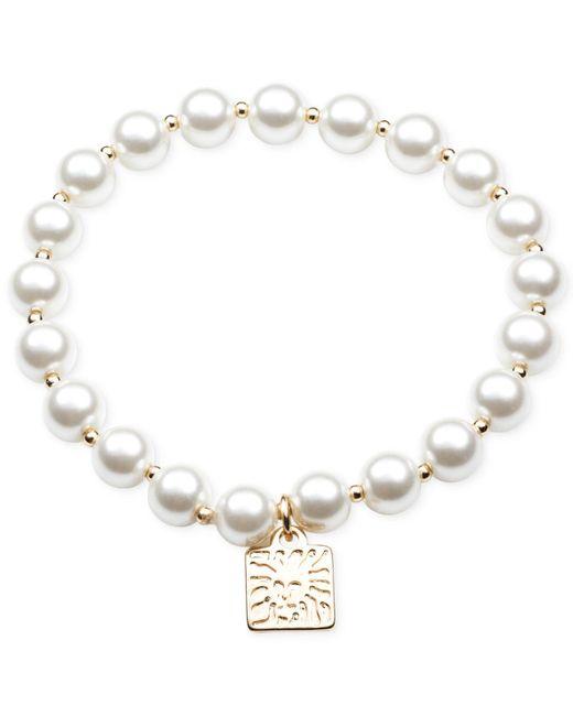 Anne Klein | White Blanc Faux Pearl Single Row Stretch Bracelet | Lyst