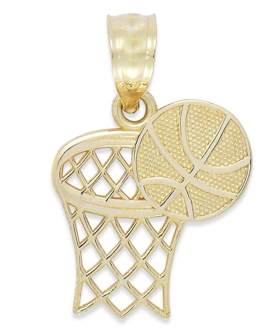 Macy's - Metallic Basketball And Hoop Charm In 14k Gold - Lyst