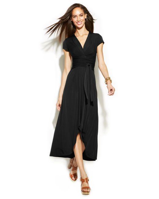 Michael Kors | Black Michael High-low Faux-wrap Dress | Lyst